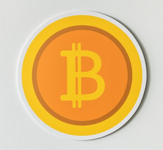 Ikona bitcoin cryptocurrency złoty na białym tle Darmowe Zdjęcia