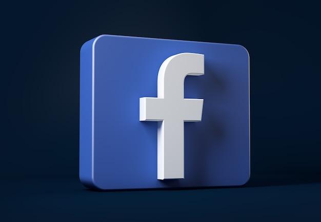 Ikona Facebook Na Białym Tle Na Ciemny W Kwadracie Premium Zdjęcia