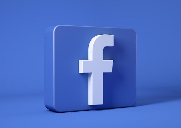 Ikona Facebook Na Niebieskim Tle W Kwadracie Premium Zdjęcia