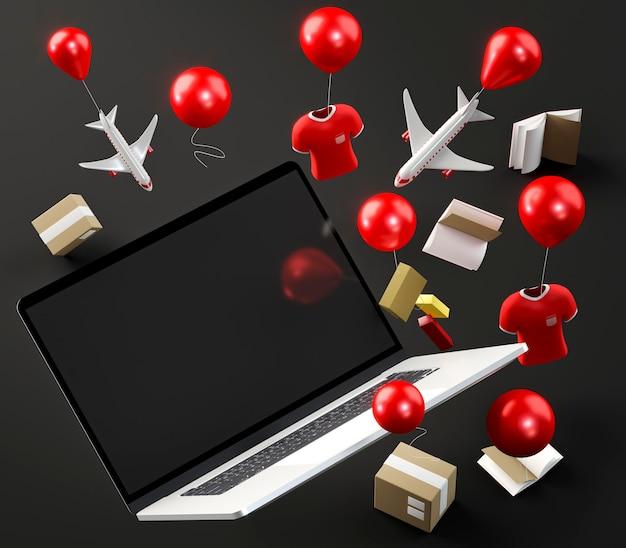 Ikona Laptopa Na Zakupy W Czarny Piątek Darmowe Zdjęcia