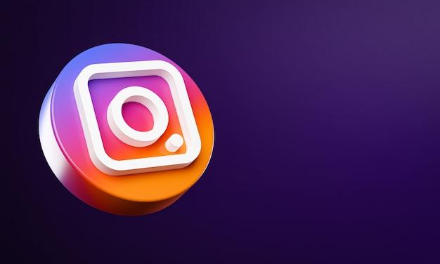 Ikona Przycisku Instagram Circle 3d Z Miejsca Na Kopię Premium Zdjęcia