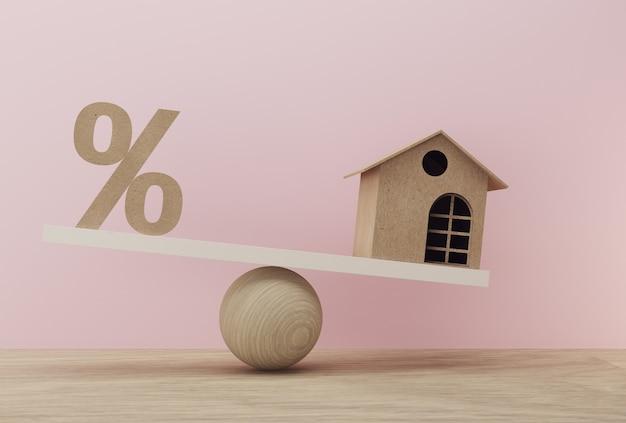 Ikona symbolu procentowego i mieści wagę w niejednakowej formie. zarządzanie finansami Premium Zdjęcia