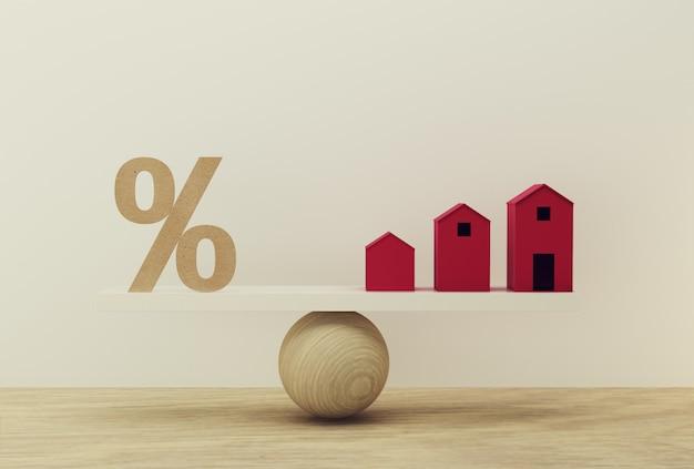 Ikona symbolu procentowego i skala domu w równej pozycji. zarządzanie finansami: przedstawia krótkoterminowe pożyczki na rezydencję. Premium Zdjęcia