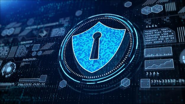 Ikona Tarczy Cyber Security, Hi-tech Cyfrowy Wyświetlacz Holograficzny, Cyfrowa Cyberprzestrzeń, Technologia Cyfrowej Transmisji Danych, Przyszłe Pojęcie Tła. Premium Zdjęcia