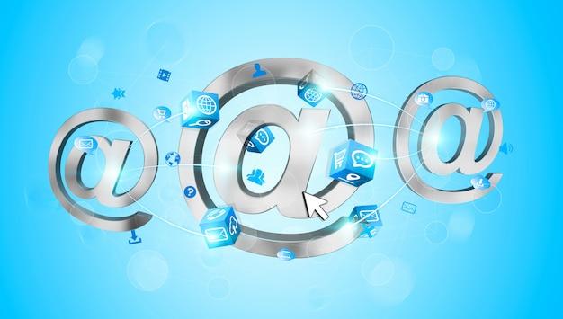 Ikona wiadomości e-mail renderowania 3d połączona ze sobą Premium Zdjęcia