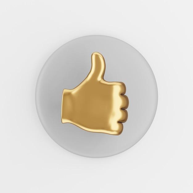Ikona Złotej Dłoni Z Kciukiem Do Góry. 3d Renderowania Szary Okrągły Przycisk Klucza, Element Interfejsu Użytkownika Interfejsu Użytkownika. Premium Zdjęcia
