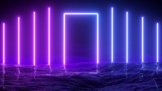 Ilustracja 3d. Futurystyczne Sci-fi świecące Neony Premium Zdjęcia