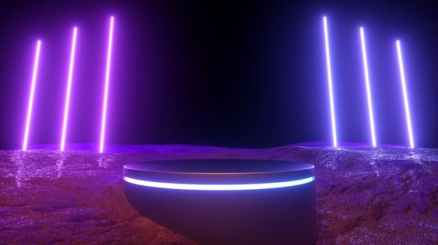 Ilustracja 3d. Nowoczesne Futurystyczne świecące Neony I Podium. Premium Zdjęcia