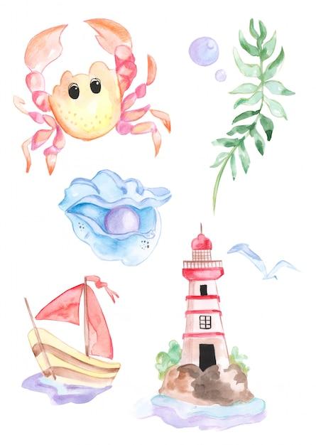 Ilustracja akwareli autorstwa mieszkańców morza i życia morskiego Premium Zdjęcia