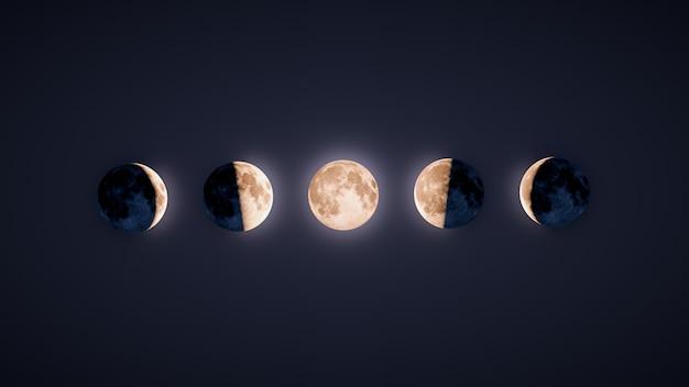 Ilustracja podświetlany faz księżycowych whit ciemnego tła Premium Zdjęcia