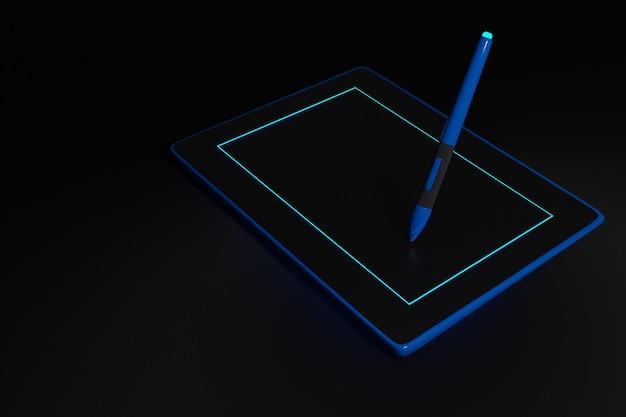 Ilustracja Tablet Pióra. Elektroniczne Urządzenie Do Projektowania Biura. Realistyczny Styl Czarnego Tabletu Makieta Z Rysikiem. Premium Zdjęcia