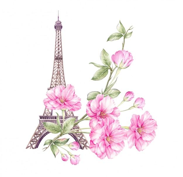 Ilustracja wiosna paryż. Premium Zdjęcia