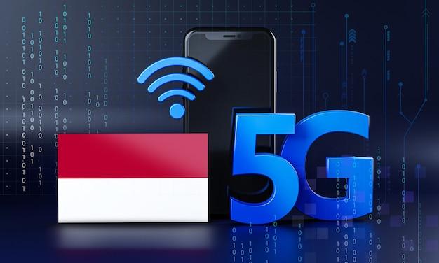 Indonezja Gotowy Do Koncepcji Połączenia 5g. Renderowania 3d Technologia Smartphone Tło Premium Zdjęcia