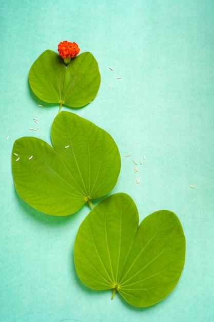 Indyjski Festiwal Dusera, Zielonych Liści I Ryżu Premium Zdjęcia