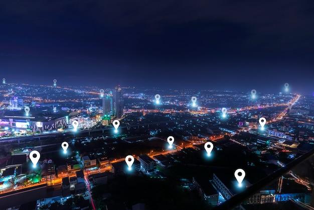 Inteligentne Miasto Z Siecią Komunikacyjną Punktów Kontrolnych Premium Zdjęcia