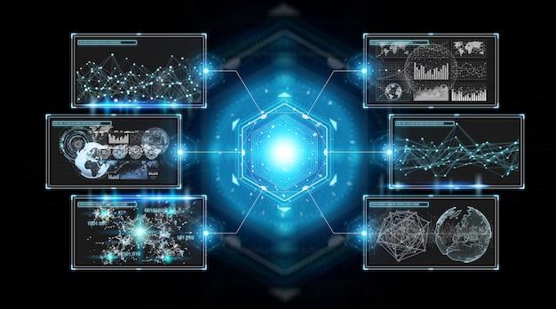 Interfejs ekranów cyfrowych z danymi hologramów Premium Zdjęcia