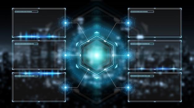 Interfejs ekranów cyfrowych z hologramami danych renderowania 3d Premium Zdjęcia