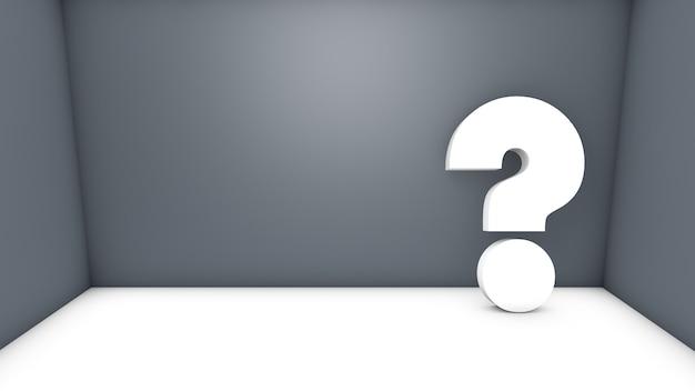 Izolowane Renderowania 3d Biały Znak Zapytania W Szarym Pokoju Z Miejscem Na Tekst Premium Zdjęcia