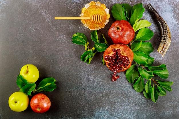 Jabłka, Granat I Miód Na Rosz Ha-szana Premium Zdjęcia