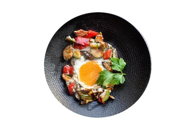 Jajka Sadzone Warzywa Omlet Gotowy Do Spożycia Dieta Keto Lub Paleo Premium Zdjęcia