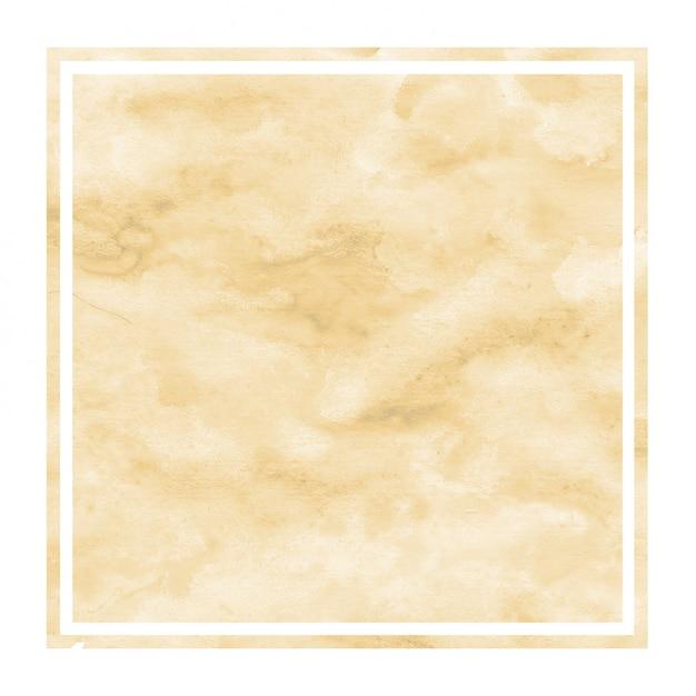 Jasnopomarańczowa ręcznie rysowane tła akwarela prostokątna ramka tekstury z plamami Premium Zdjęcia