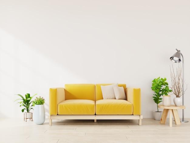 Jasnozielone Wnętrze Salonu Z żółtą Sofą, Lampą I Roślinami Na Pustym. Premium Zdjęcia