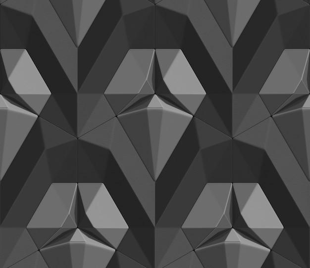 Jednolity Wzór Czarnych Płytek 3d W Postaci Sześciokątnych Płytek Wolumetryczny Kształt Skóry. Premium Zdjęcia