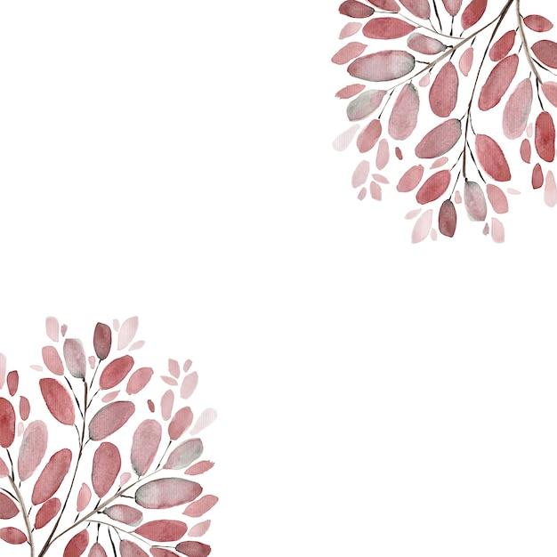 Jesienne Liście I Gałęzie Akwarela Ilustracja Tło. Zestaw Ręcznie Malowanych Elementów Kwiatowych. Akwarela Ilustracja Botaniczna. Premium Zdjęcia