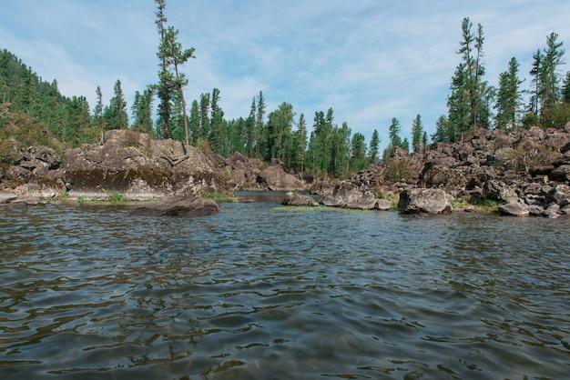 Jezioro teletskoye w górach ałtaju Premium Zdjęcia