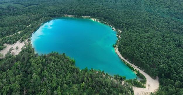 Jezioro W Gęstym Lesie Sosnowym Z Lotu Ptaka Premium Zdjęcia