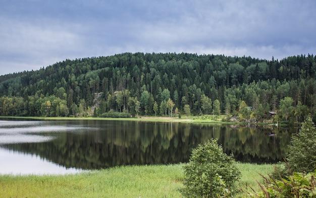 Jezioro W Karelii. Letnie Naturalne Krajobrazy W Podróży. Na Północ Od Rosji Premium Zdjęcia