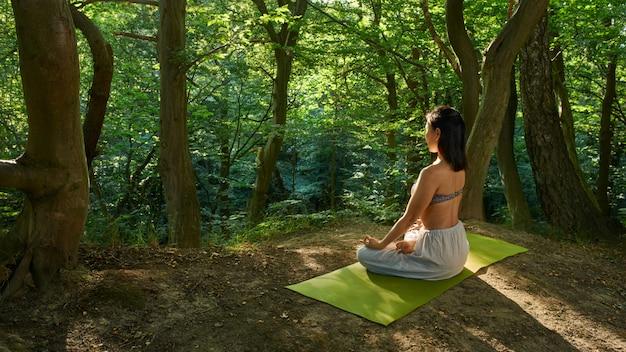 Joga Medytacja W Parku, Zdrowa Kobieta W Pokoju, Koncepcja Równowagi Zen I Ducha. Premium Zdjęcia