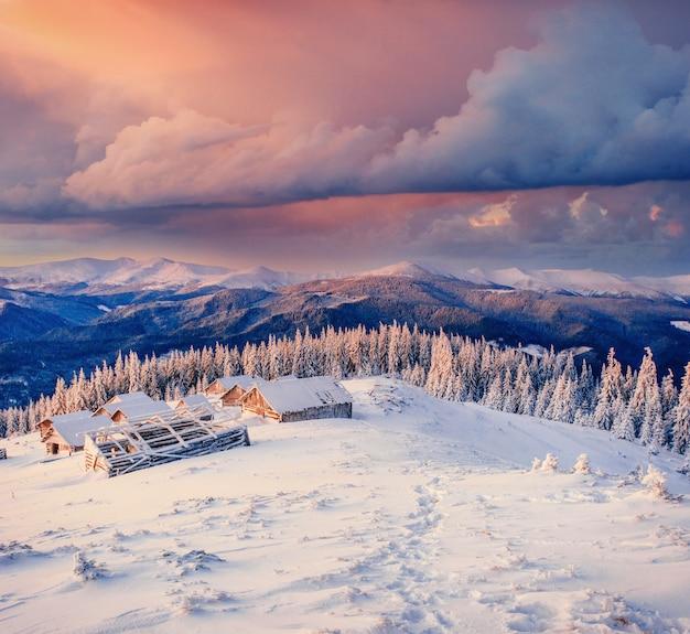Kabina W Górach W Zimie. Karpackie, Ukraina Europa Premium Zdjęcia