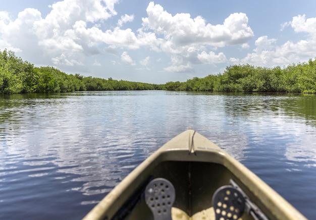 Kajakarstwo w rzece w naturalnym krajobrazie Premium Zdjęcia