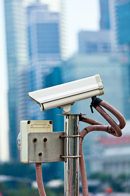 Kamera Monitorująca Cctv W Singapurze Premium Zdjęcia