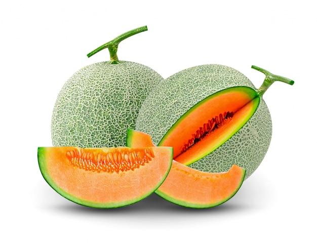 Kantalupa Melon Odizolowywający Na Białym Tle Premium Zdjęcia