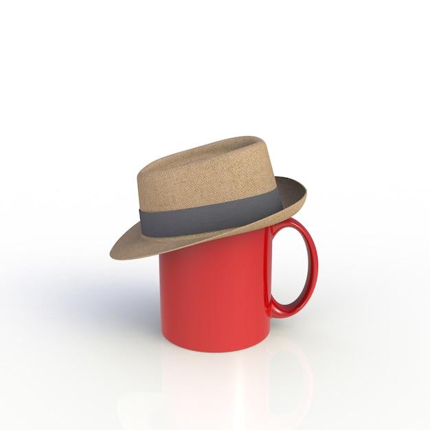 Kapelusz Na Czerwonej Filiżance Na Bielu Premium Zdjęcia