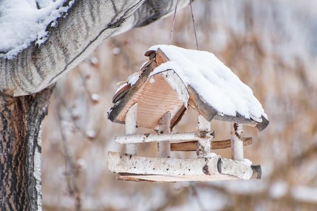 Karmnik dla ptaków brzoza pokryty śniegiem. zimowy dzień Premium Zdjęcia