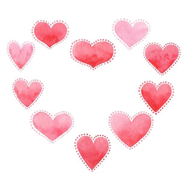 Karta Na Walentynki, Akwarela, Miłość. Premium Zdjęcia