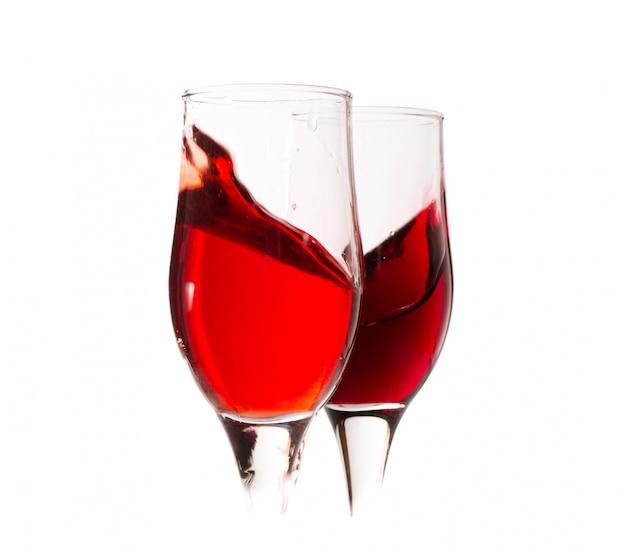 Karta Win. Zestaw Czara Z Plamami Czerwonego Wina Premium Zdjęcia