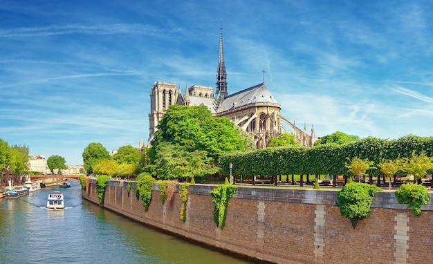 Katedra Notre Dame W Paryżu Z Pobliskiego Mostu Premium Zdjęcia