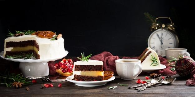 Kawałek Pyszne Ciasto Czekoladowe Premium Zdjęcia