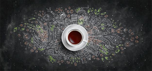 Kawy Kreda Ilustrował Pojęcie Na Czerni Deski Tle - Biała Filiżanka, Odgórny Widok Z Kredową Doodle Ilustracją Kawa, Fasole, Ranek, Kawa Espresso W Kawiarni, śniadanie. Ręcznie Rysować Kredą Koncepcja. Premium Zdjęcia