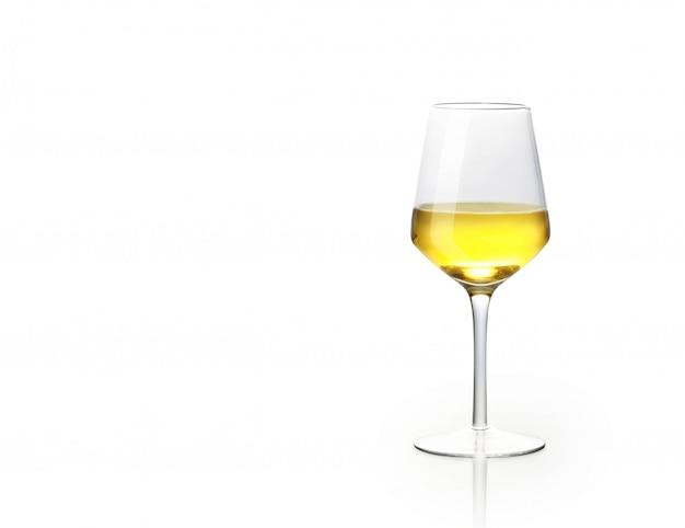 Kieliszek Białego Wina Na Białym Tle Premium Zdjęcia