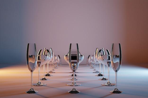 Kieliszki 3d Ilustracji Do Szampana, Whisky, Koniaku, Martini, Małe Kieliszki Pięknie Błyszczą I Stoją W Równych Rzędach Na Szaro-brązowym Izolowanym Tle Premium Zdjęcia