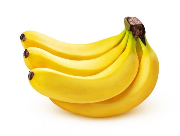 Kilka Bananów Na Białym Tle Premium Zdjęcia
