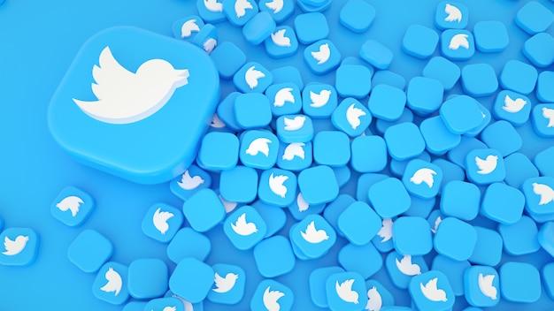 Kilka Ikon Twittera I Logo 3d Tło Premium Zdjęcia