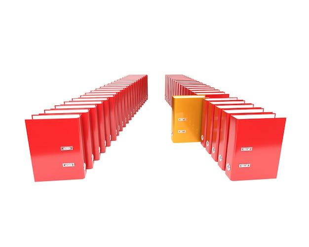 Kilka segregatorów folderów na białym tle. 3d ilustracja. Premium Zdjęcia