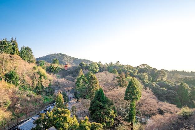Kiyomizu-dera Krajobraz Z Górą I Niebem Premium Zdjęcia