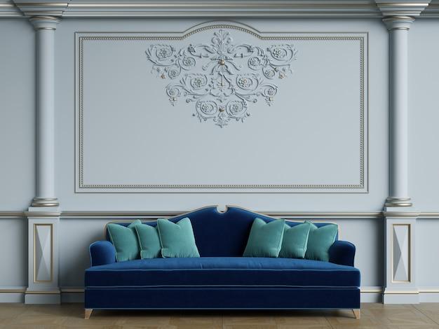 Klasyczna Niebieska Sofa W Klasycznym Wnętrzu Premium Zdjęcia